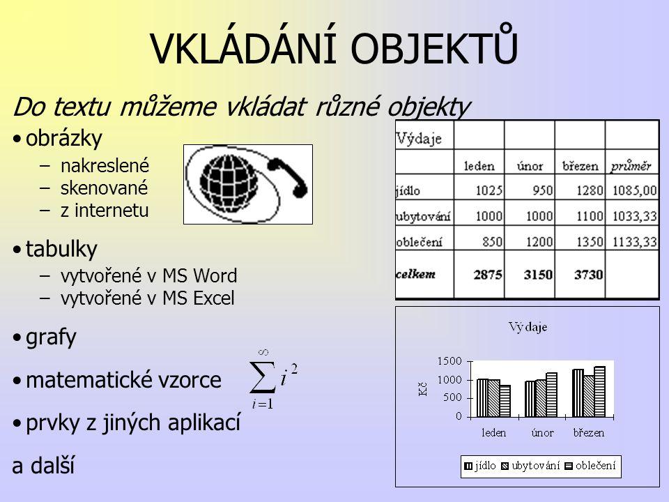 VKLÁDÁNÍ OBJEKTŮ Do textu můžeme vkládat různé objekty obrázky tabulky
