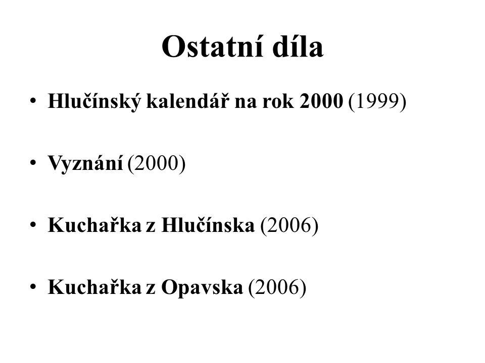Ostatní díla Hlučínský kalendář na rok 2000 (1999) Vyznání (2000)