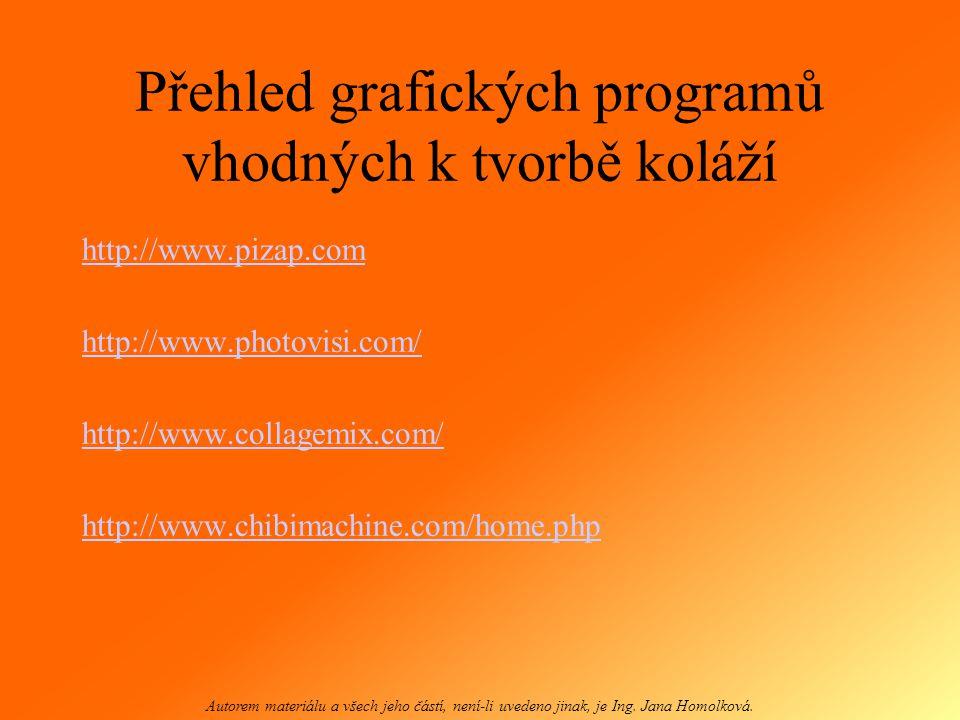 Přehled grafických programů vhodných k tvorbě koláží
