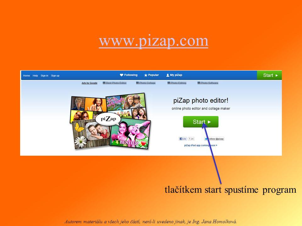 www.pizap.com tlačítkem start spustíme program