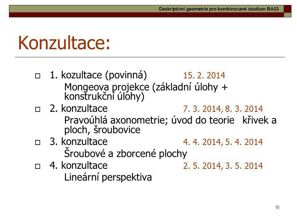 Konzultace: 1. kozultace (povinná) 15. 2. 2014