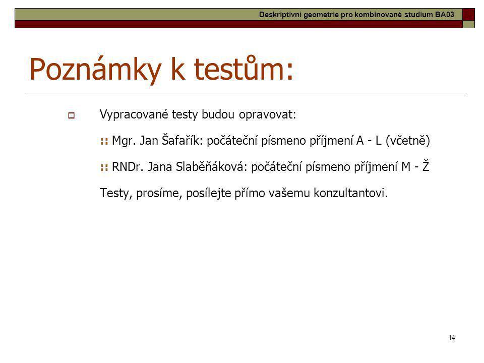 Poznámky k testům: Vypracované testy budou opravovat: