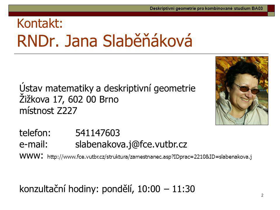 Kontakt: RNDr. Jana Slaběňáková