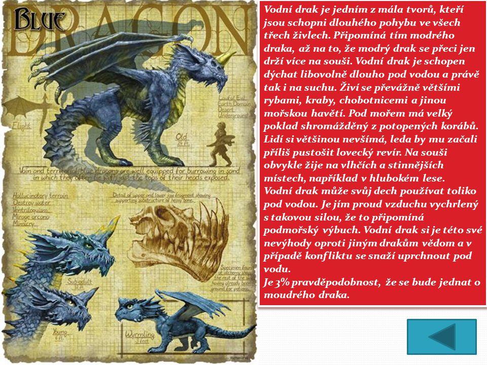 Vodní drak je jedním z mála tvorů, kteří jsou schopni dlouhého pohybu ve všech třech živlech.