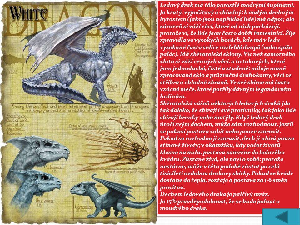 Ledový drak má tělo porostlé modrými šupinami