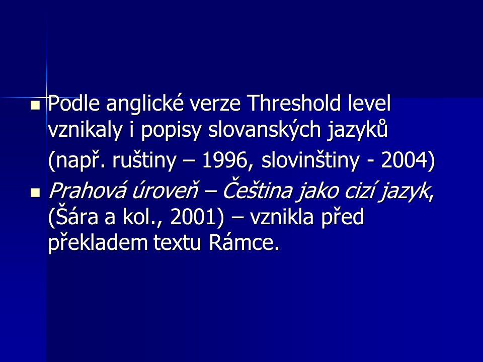 Podle anglické verze Threshold level vznikaly i popisy slovanských jazyků