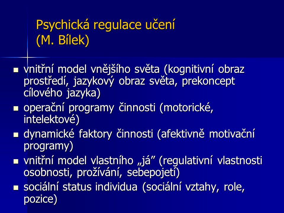 Psychická regulace učení (M. Bílek)