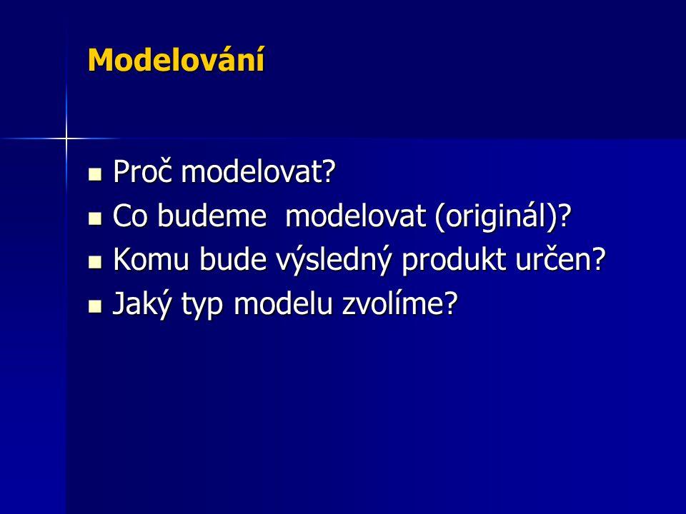 Modelování Proč modelovat. Co budeme modelovat (originál).