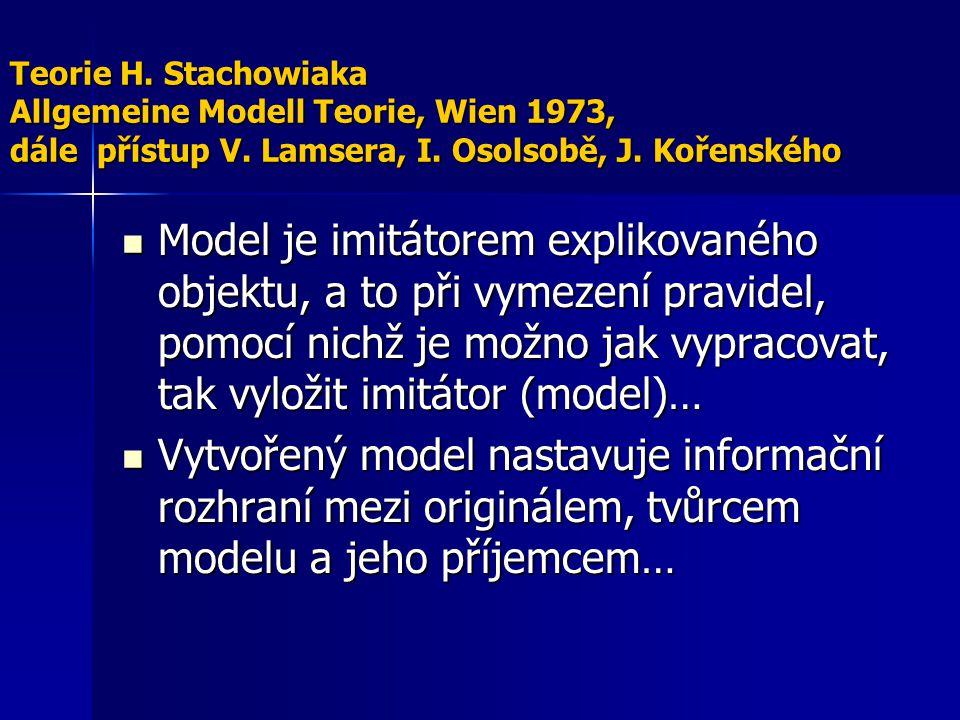 Teorie H. Stachowiaka Allgemeine Modell Teorie, Wien 1973, dále přístup V. Lamsera, I. Osolsobě, J. Kořenského