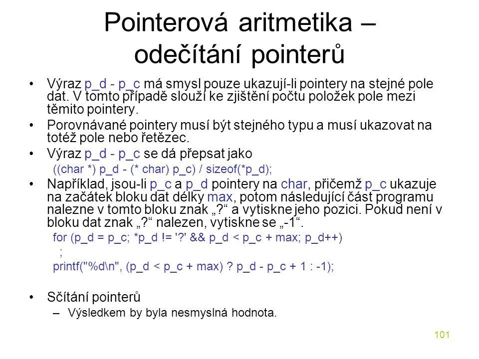 Pointerová aritmetika – odečítání pointerů