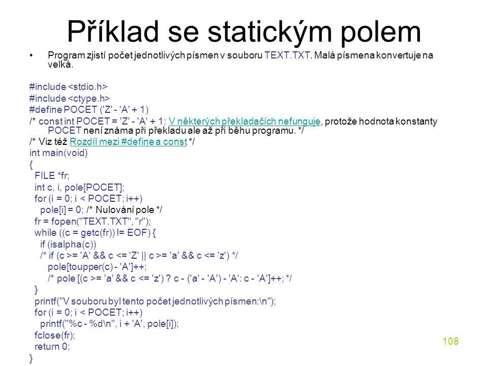 Příklad se statickým polem