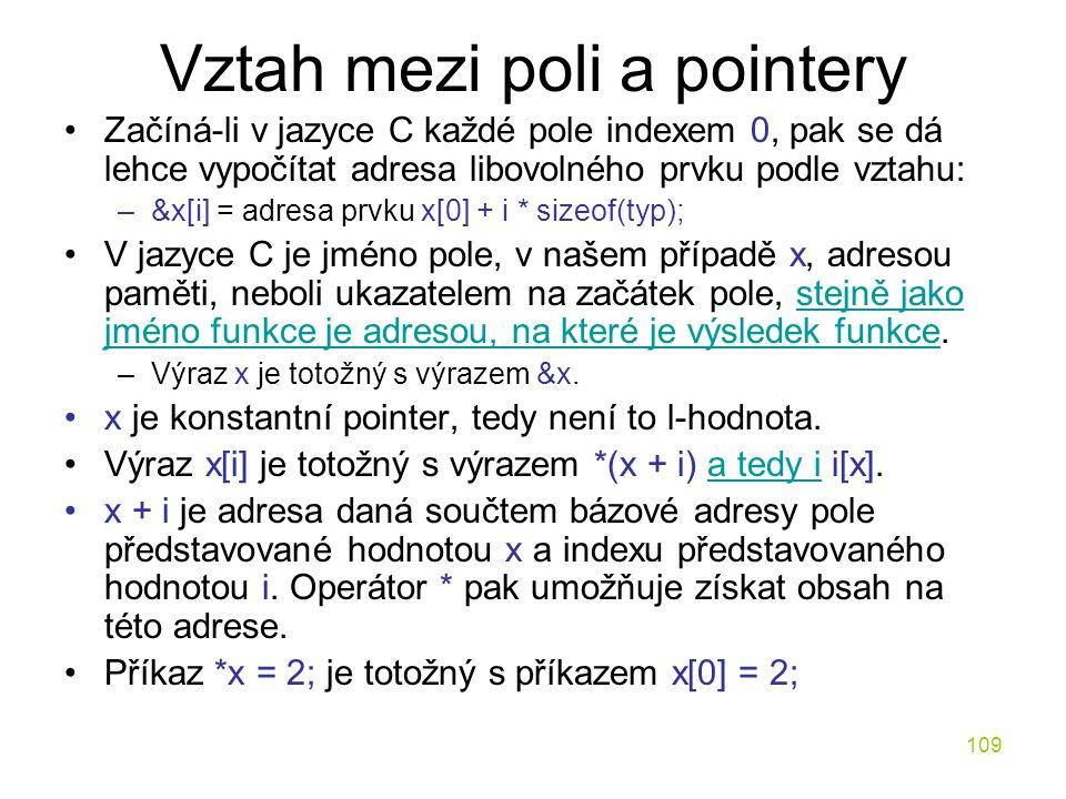 Vztah mezi poli a pointery