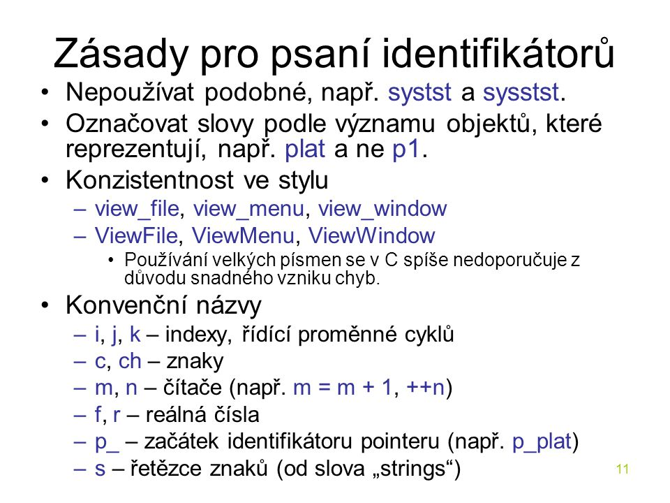 Zásady pro psaní identifikátorů