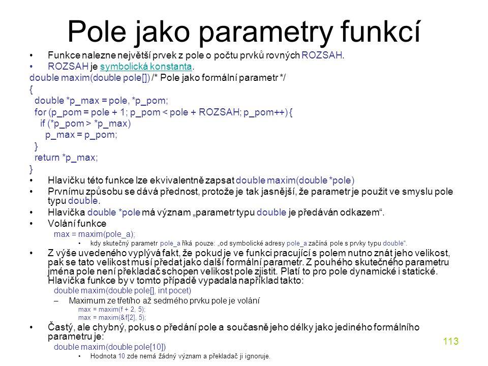 Pole jako parametry funkcí