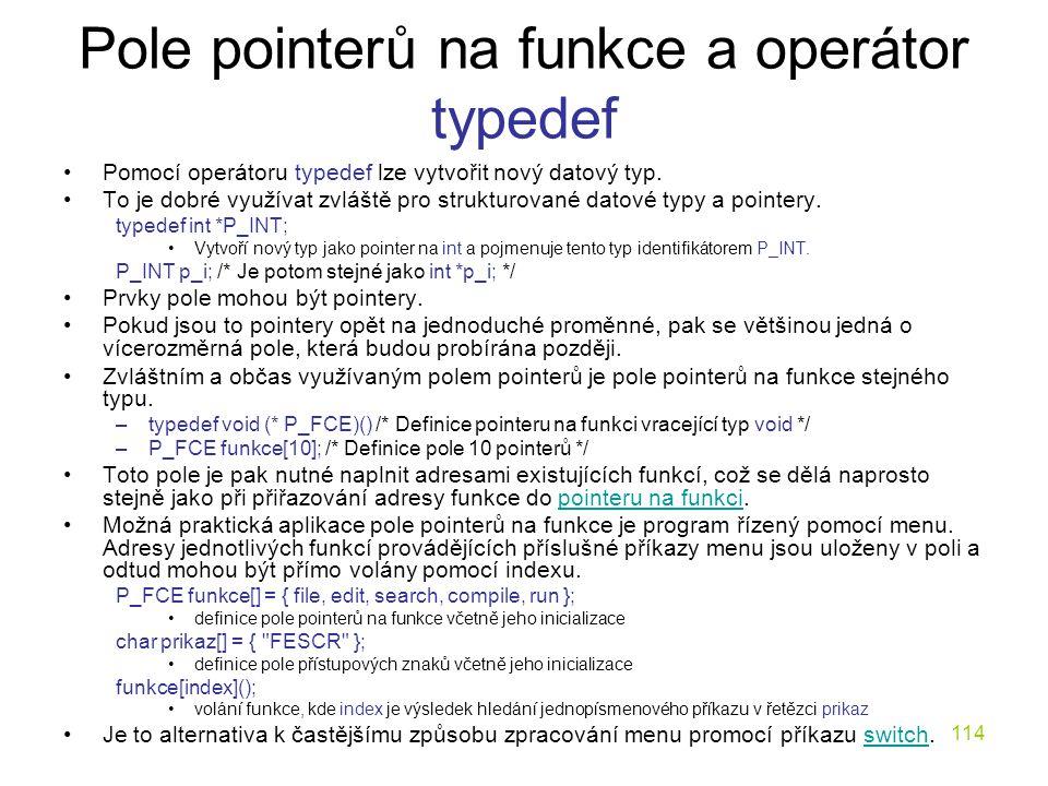 Pole pointerů na funkce a operátor typedef