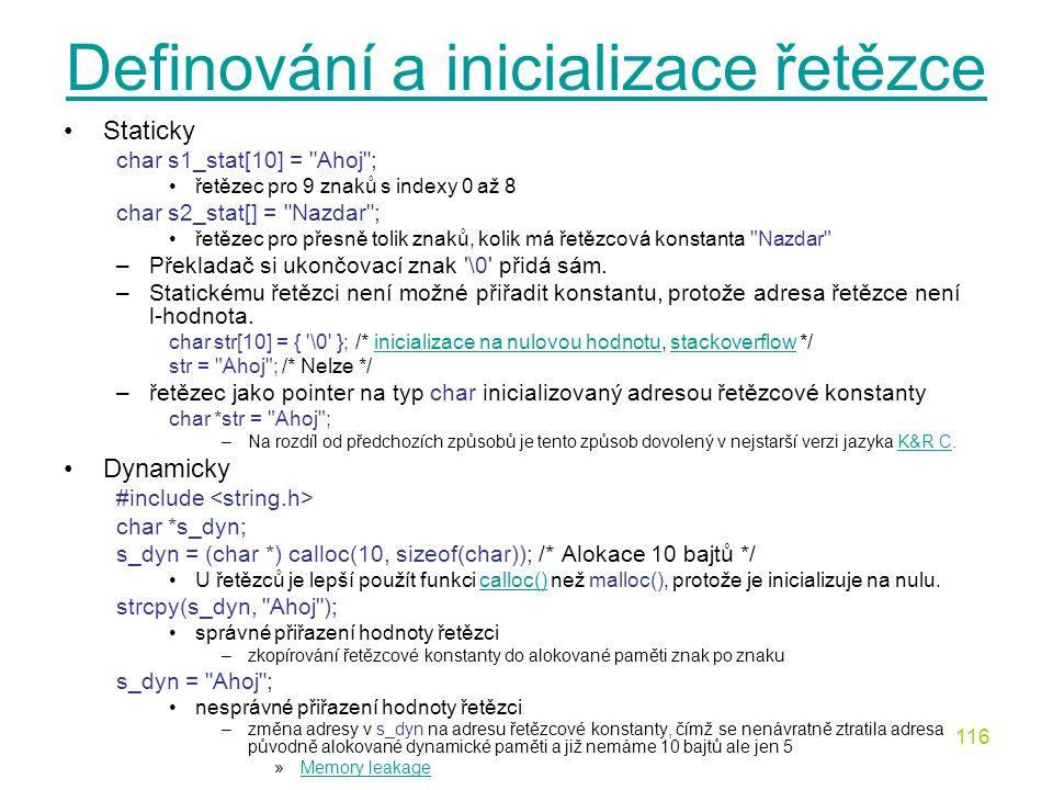Definování a inicializace řetězce