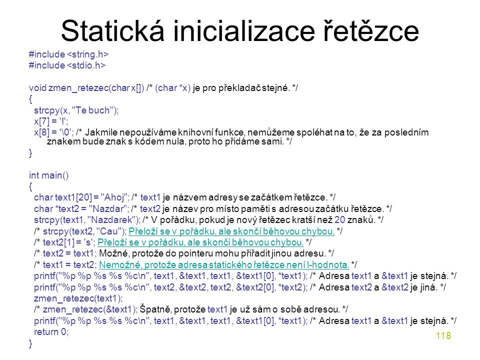 Statická inicializace řetězce