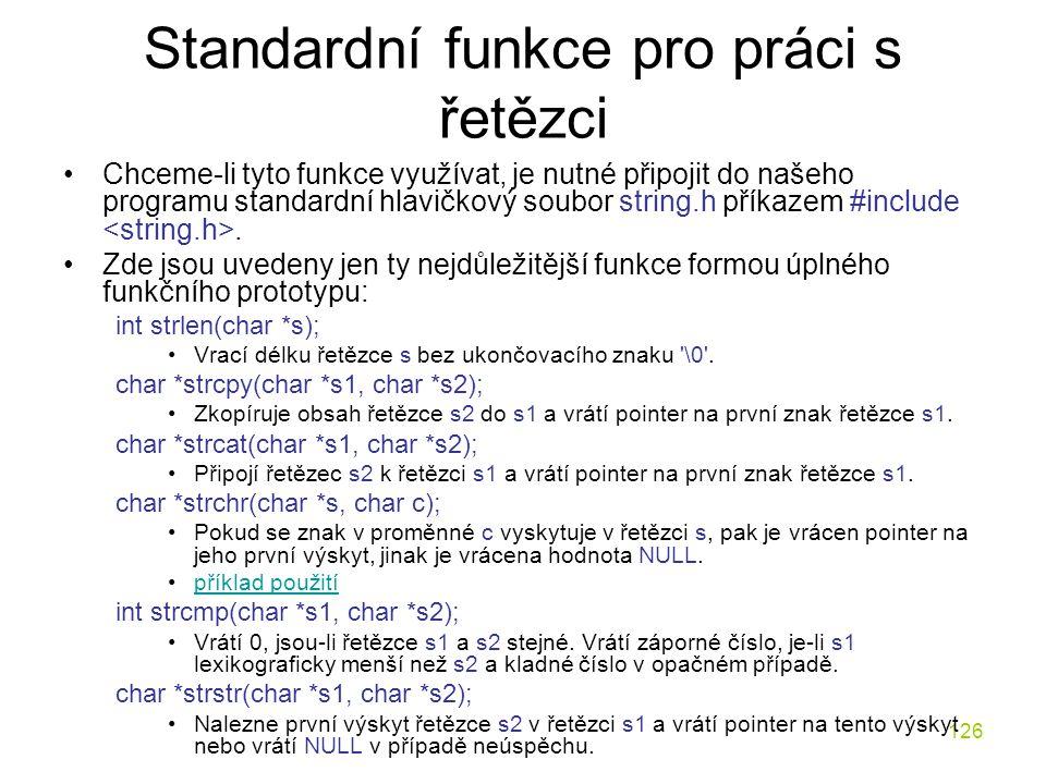 Standardní funkce pro práci s řetězci