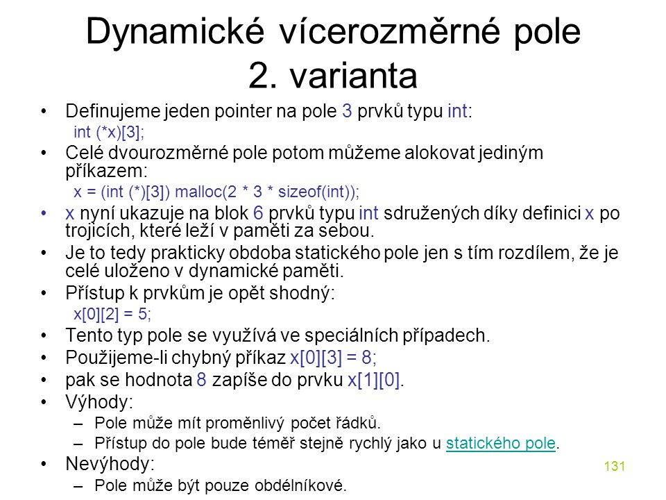 Dynamické vícerozměrné pole 2. varianta