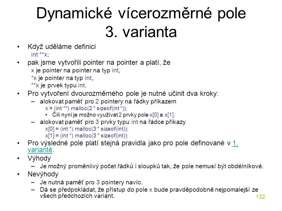 Dynamické vícerozměrné pole 3. varianta