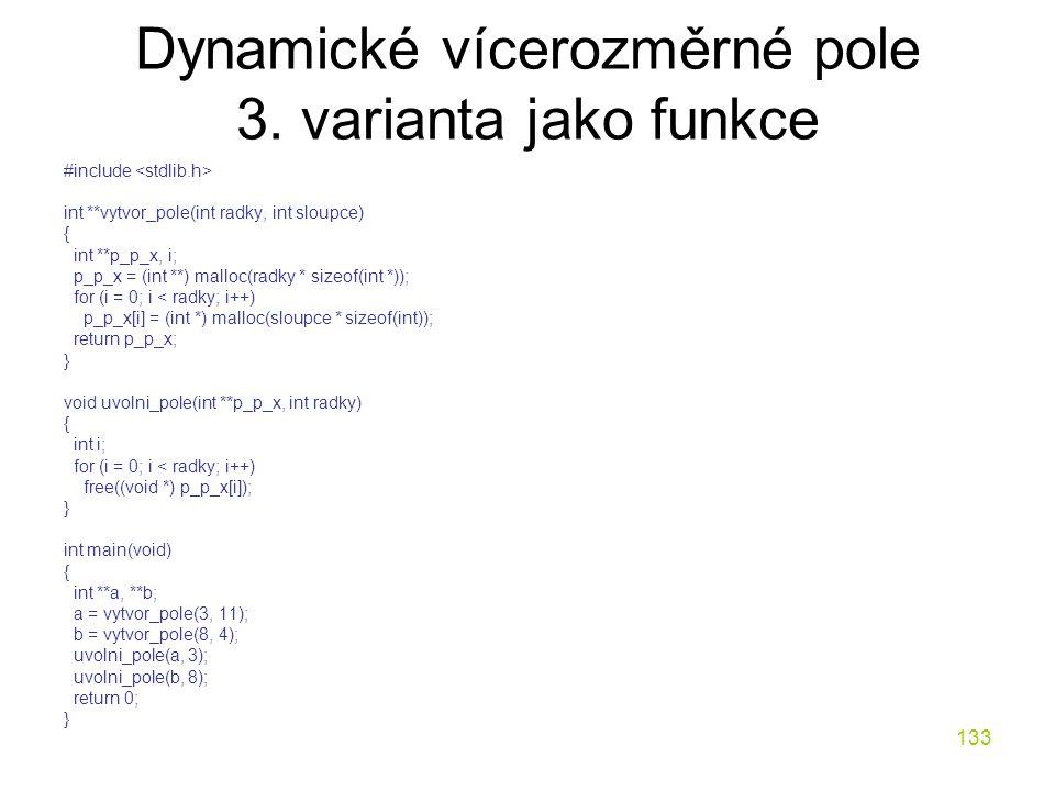 Dynamické vícerozměrné pole 3. varianta jako funkce