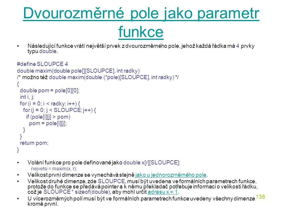 Dvourozměrné pole jako parametr funkce