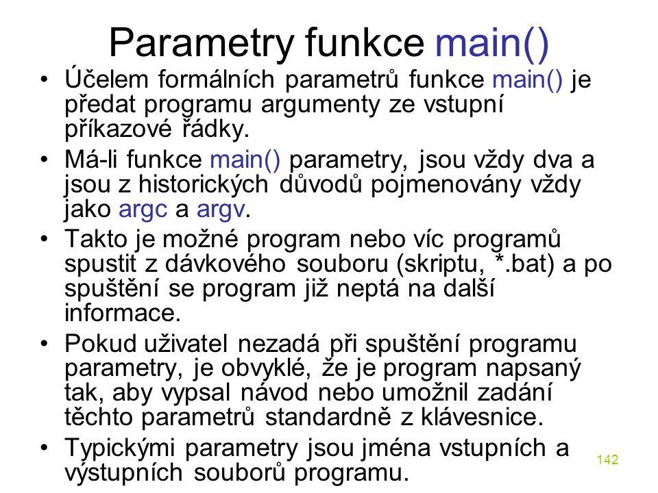 Parametry funkce main()