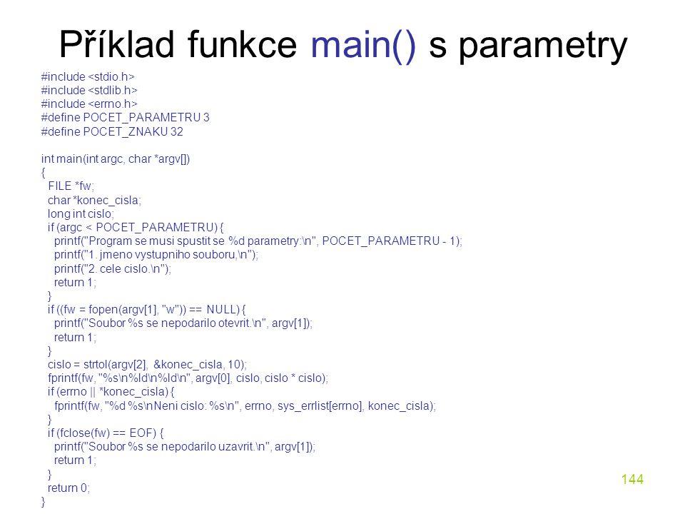 Příklad funkce main() s parametry