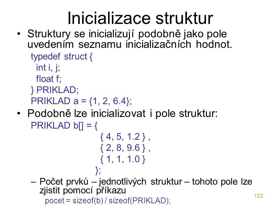 Inicializace struktur