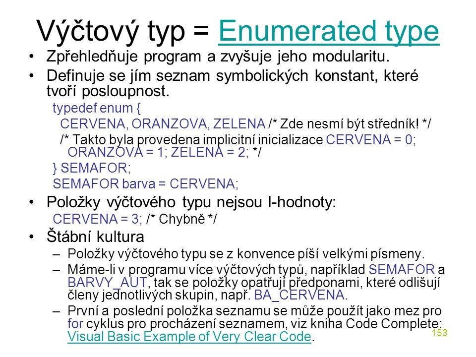 Výčtový typ = Enumerated type