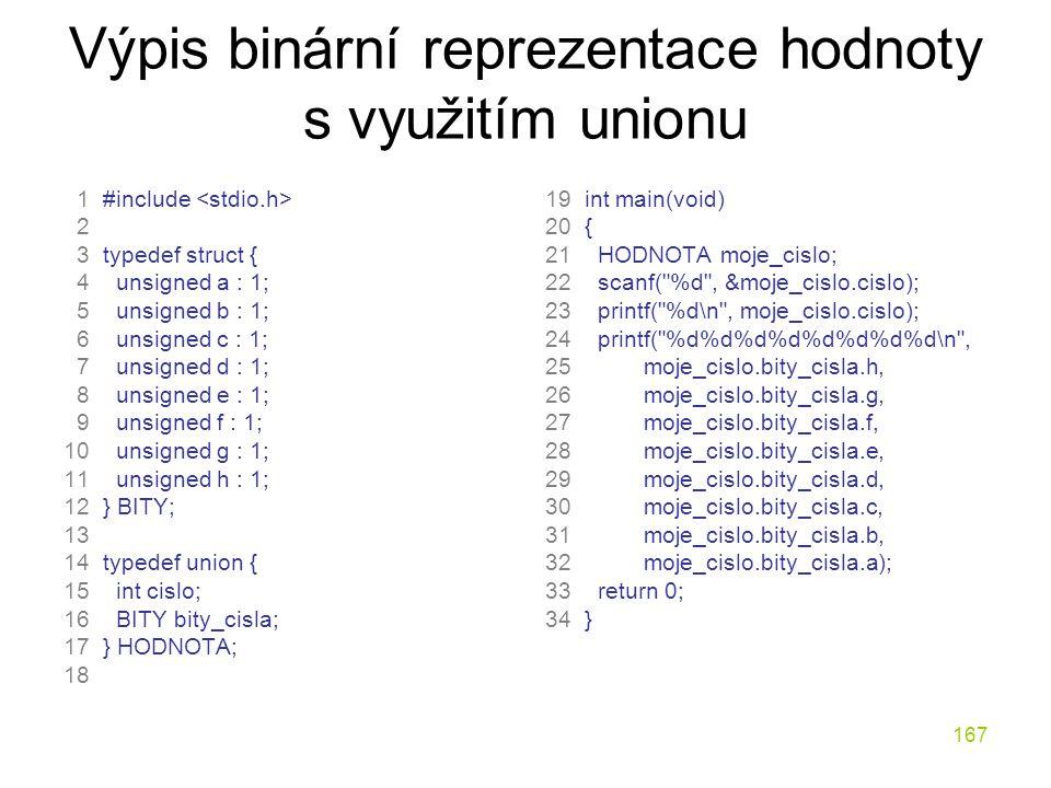 Výpis binární reprezentace hodnoty s využitím unionu