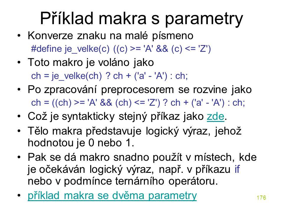 Příklad makra s parametry