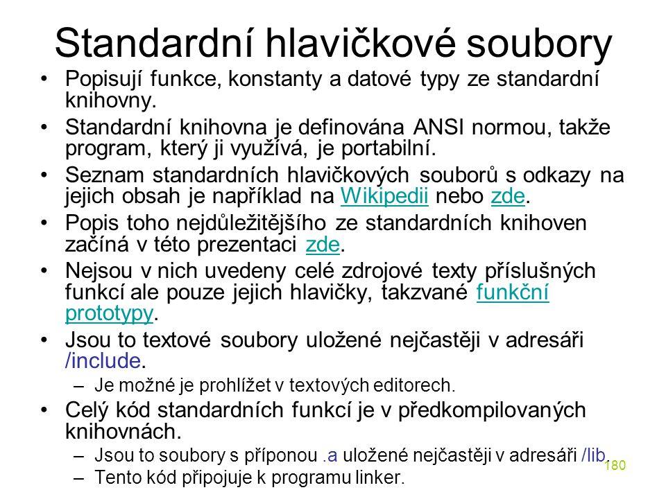 Standardní hlavičkové soubory