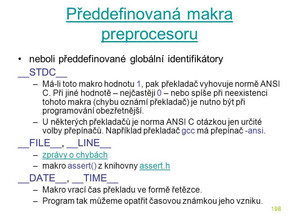 Předdefinovaná makra preprocesoru