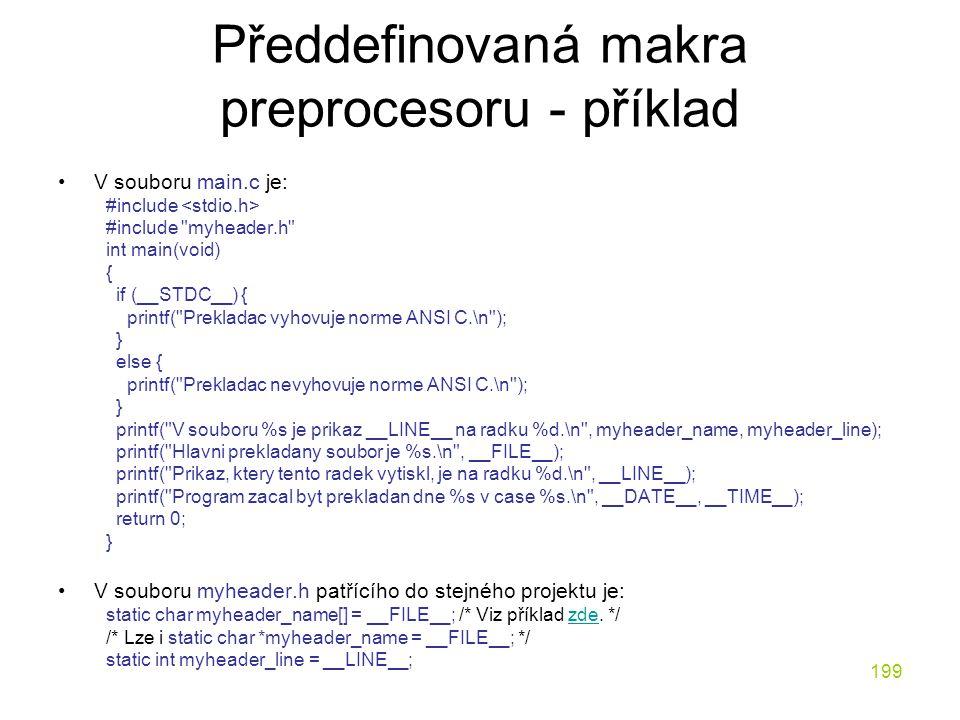 Předdefinovaná makra preprocesoru - příklad