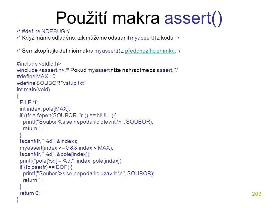Použití makra assert()