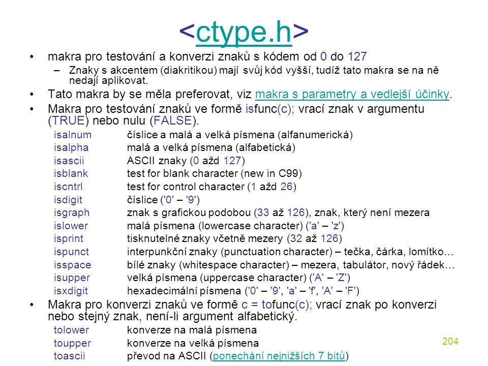 <ctype.h> makra pro testování a konverzi znaků s kódem od 0 do 127.