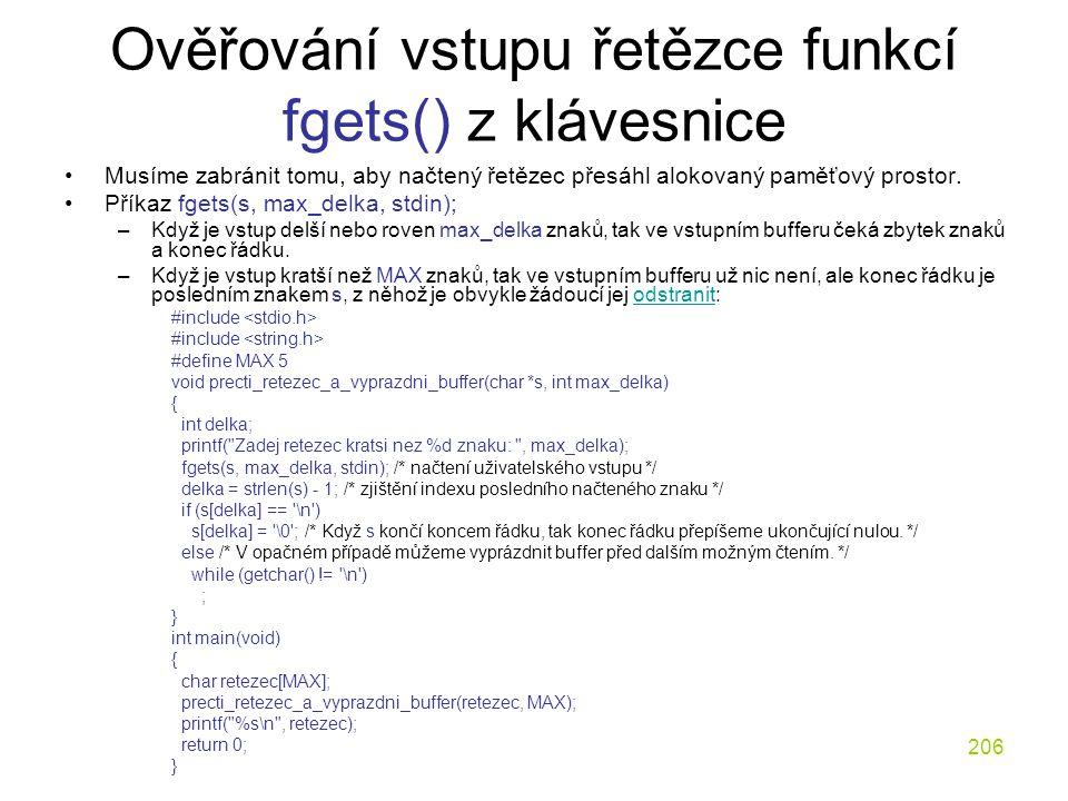Ověřování vstupu řetězce funkcí fgets() z klávesnice
