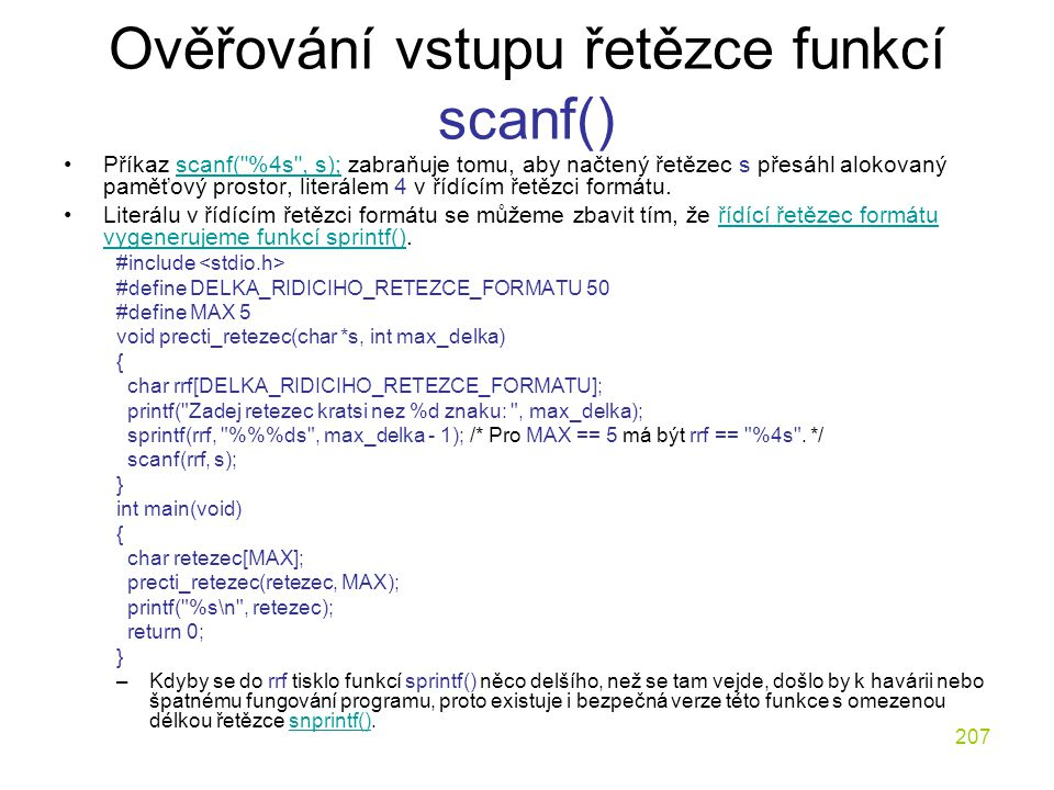 Ověřování vstupu řetězce funkcí scanf()