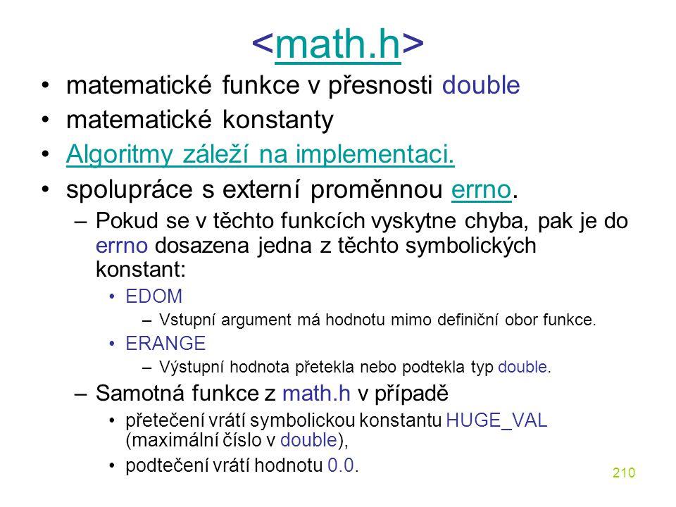 <math.h> matematické funkce v přesnosti double