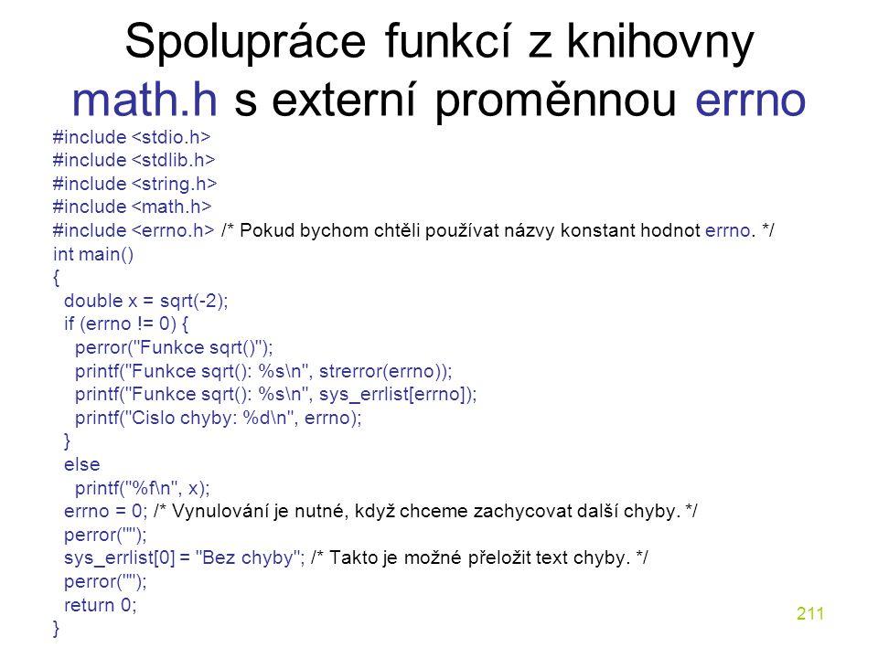Spolupráce funkcí z knihovny math.h s externí proměnnou errno