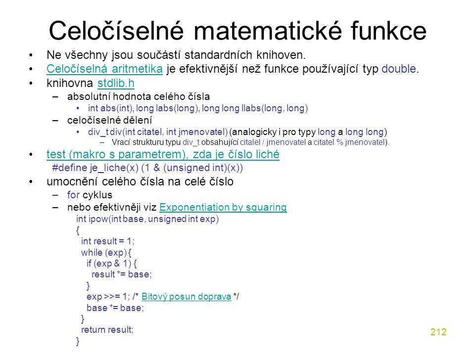 Celočíselné matematické funkce