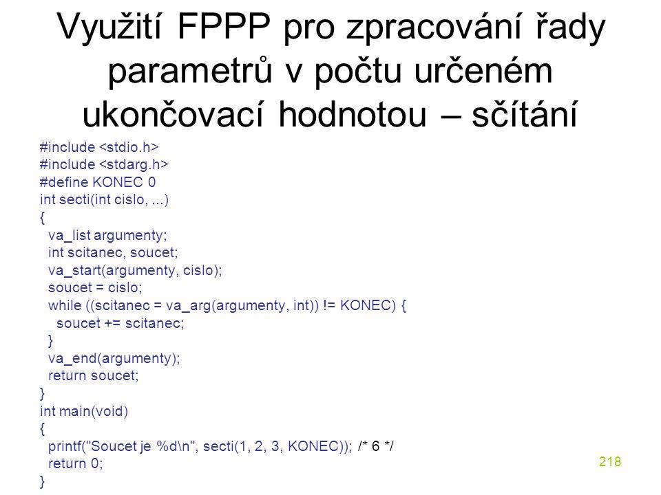 Využití FPPP pro zpracování řady parametrů v počtu určeném ukončovací hodnotou – sčítání