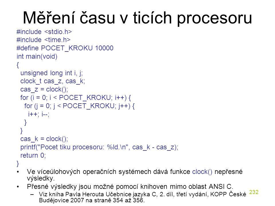 Měření času v ticích procesoru