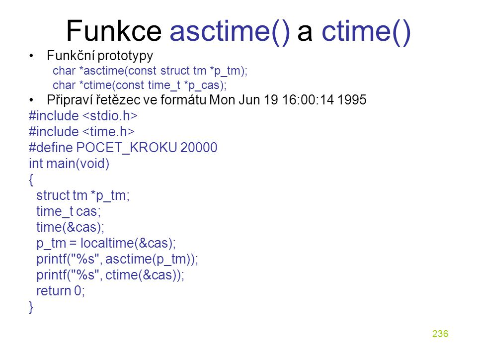 Funkce asctime() a ctime()