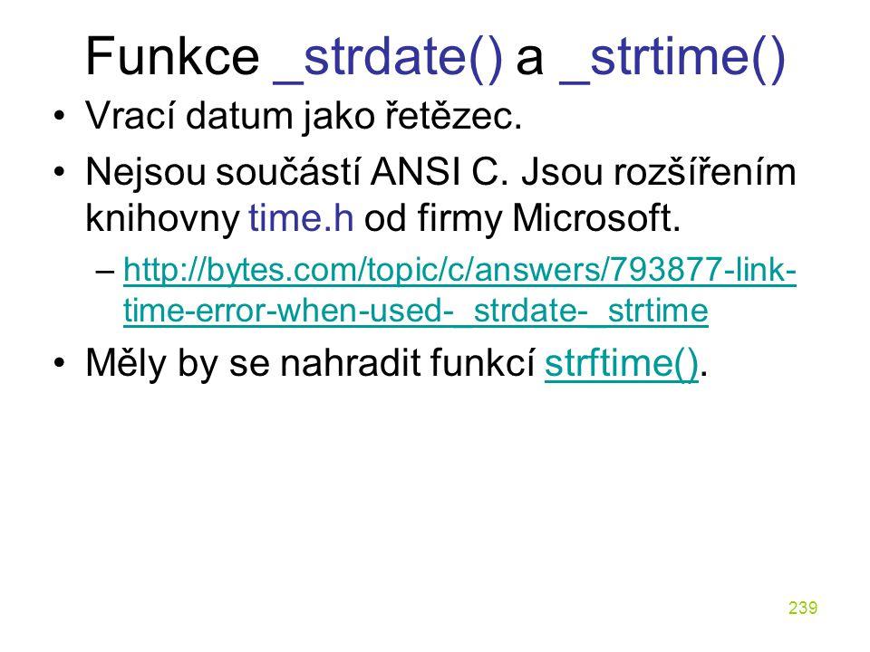 Funkce _strdate() a _strtime()