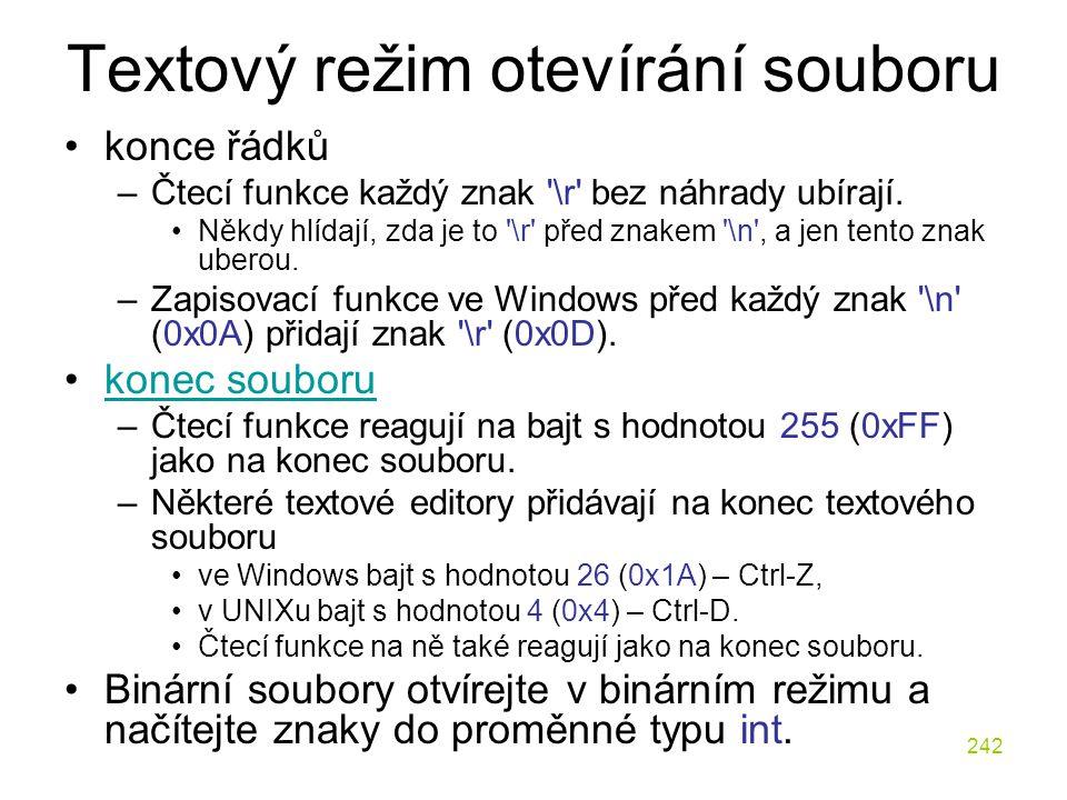 Textový režim otevírání souboru