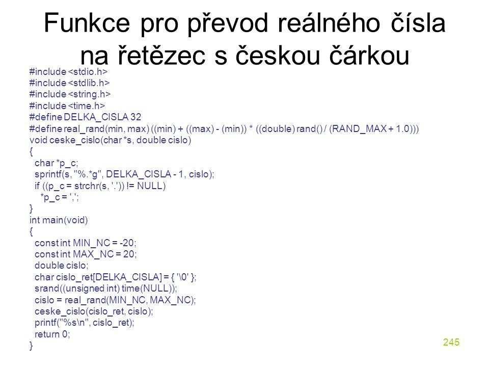 Funkce pro převod reálného čísla na řetězec s českou čárkou