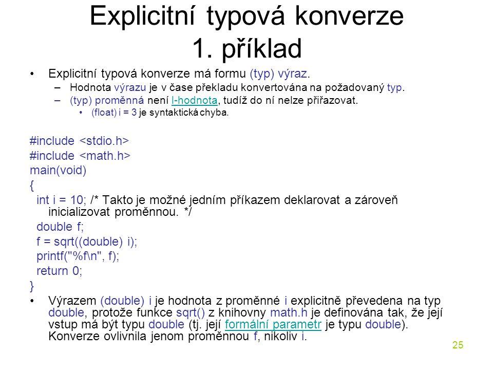 Explicitní typová konverze 1. příklad