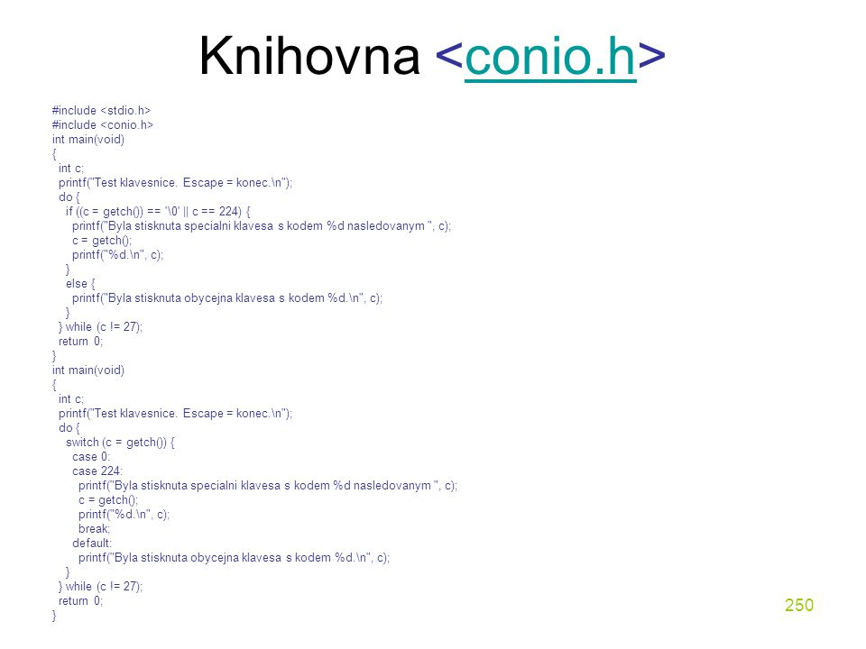 Knihovna <conio.h>